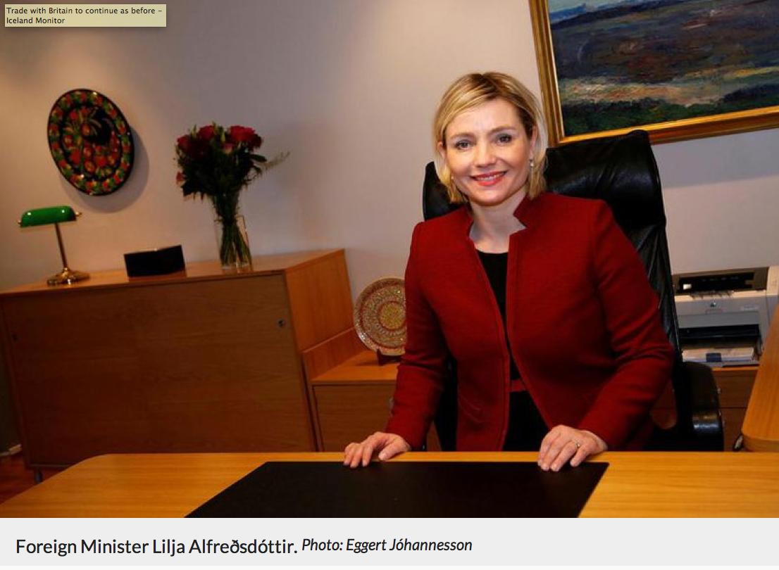 La ministre des Affaires étrangères Lilja Alfreðsdóttir