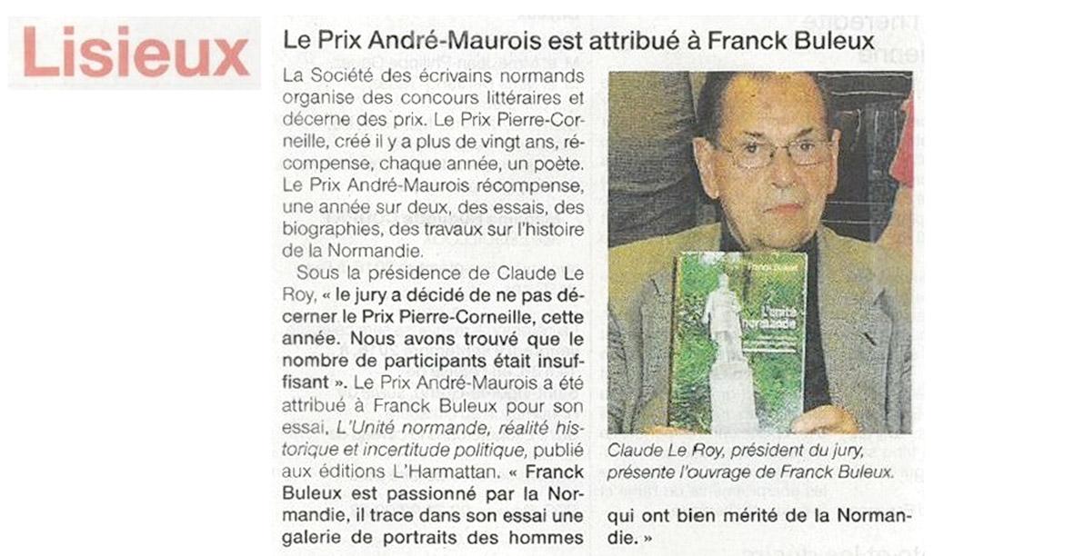 Le quotidien Ouest France rend compte du Prix décerné à Franck Buleux.