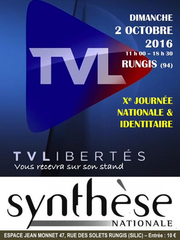 TV Libertés sera présente le dimanche 2 octobre à Rungis pour la Xe Journée de Synthèse nationale…