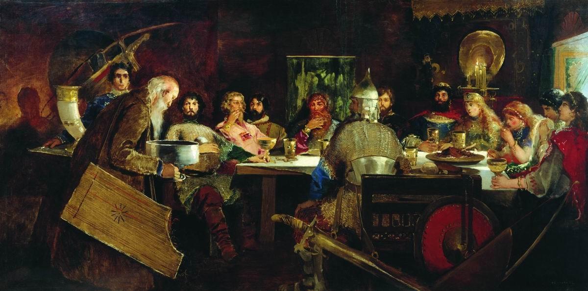 tableau de Raibouchkine «Le festin des bogatyrs chez le gentil Prince Vladimir»
