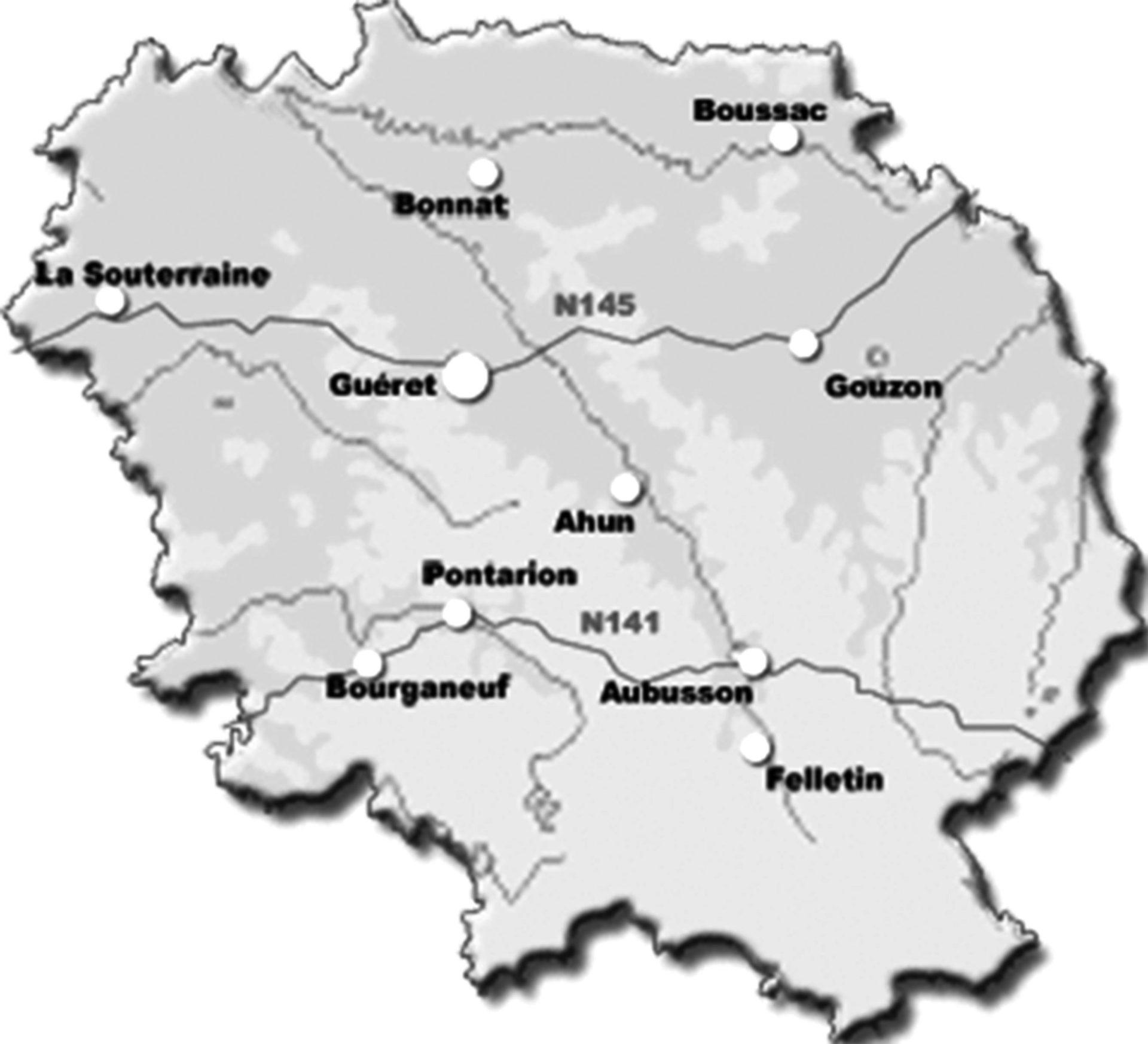 Carte de l'implantation templière en Creuse.