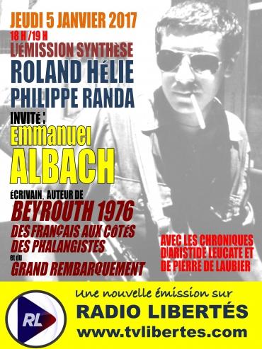 Jeudi 5 janvier 2017 : l'écrivain Emmanuel Albach est l'invité de «Synthèse».