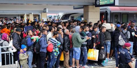 immigrés clandestins en partance pour l'Allemagne, gare de Vienne, septembre 2015.