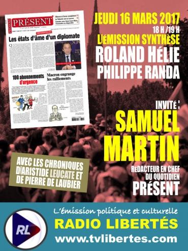 Samuel Martin est l'invité de Sythèse sur Radio Libertés.