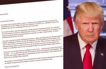 Lettre Suede Trump
