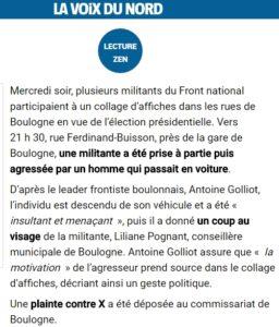 L'«articulet» paru dans «La Voix du Nord», indiquant l'agression contre le FN.