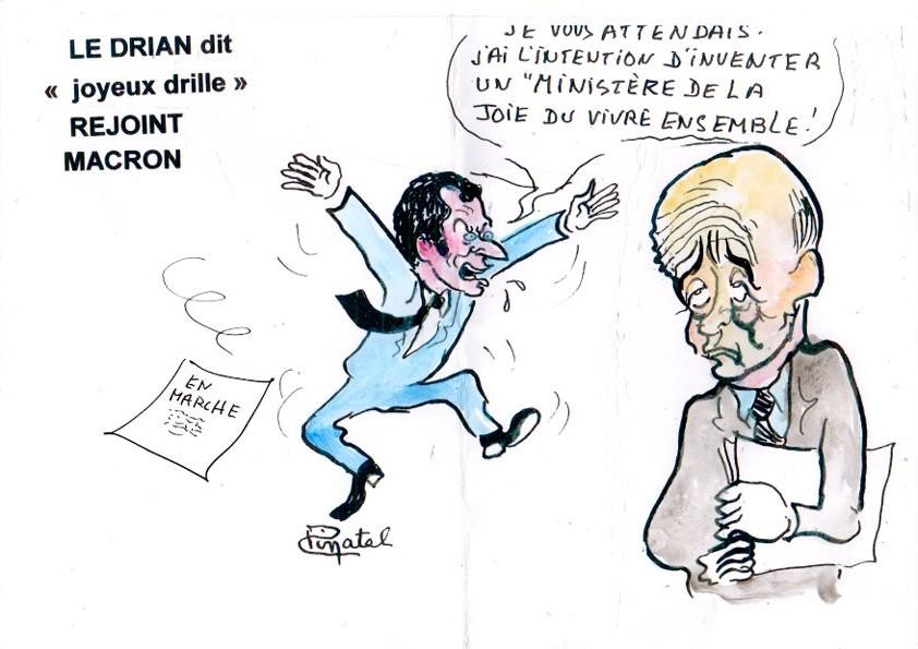 Dessin de  Pinatel Macron Le Drian