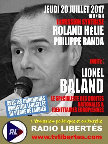 """Lionel Baland invité de l'émission """"Synthèse""""."""