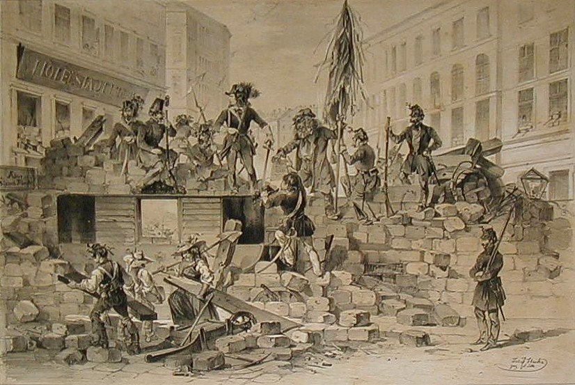 Barricades à Vienne en 1848. Dessin de Joseph Heicke.