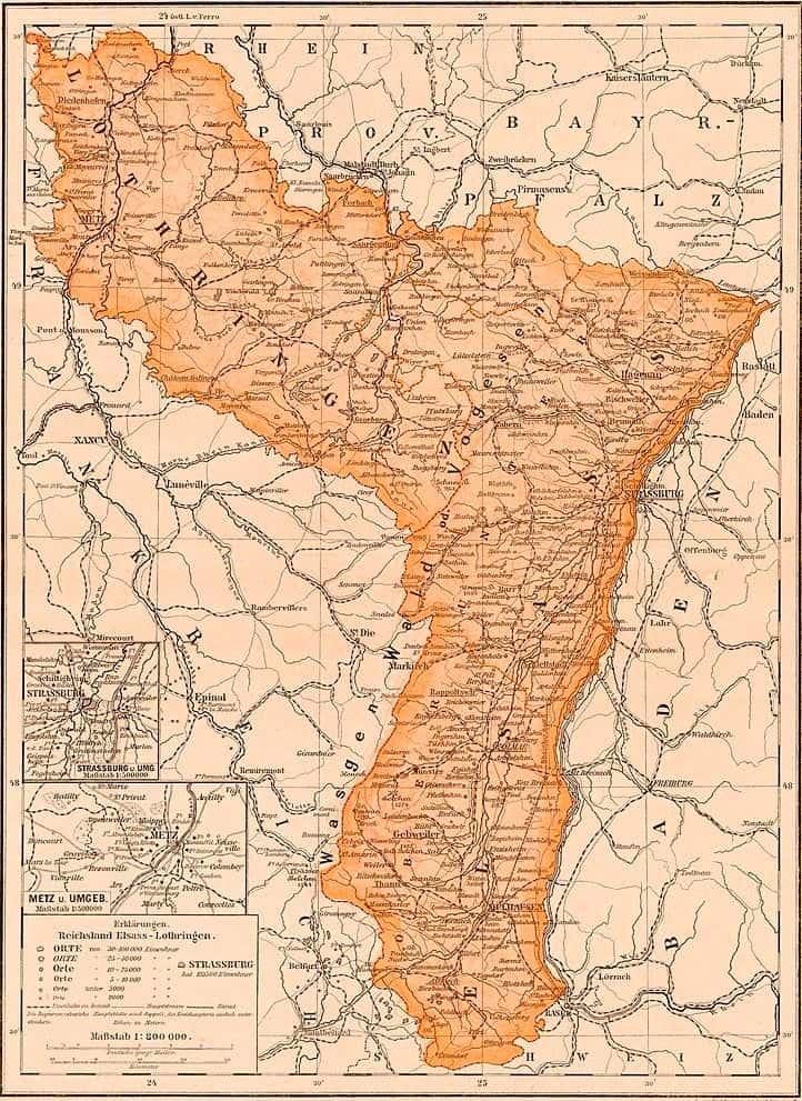 Carte de l'Alsace-Lorraine en 1905.