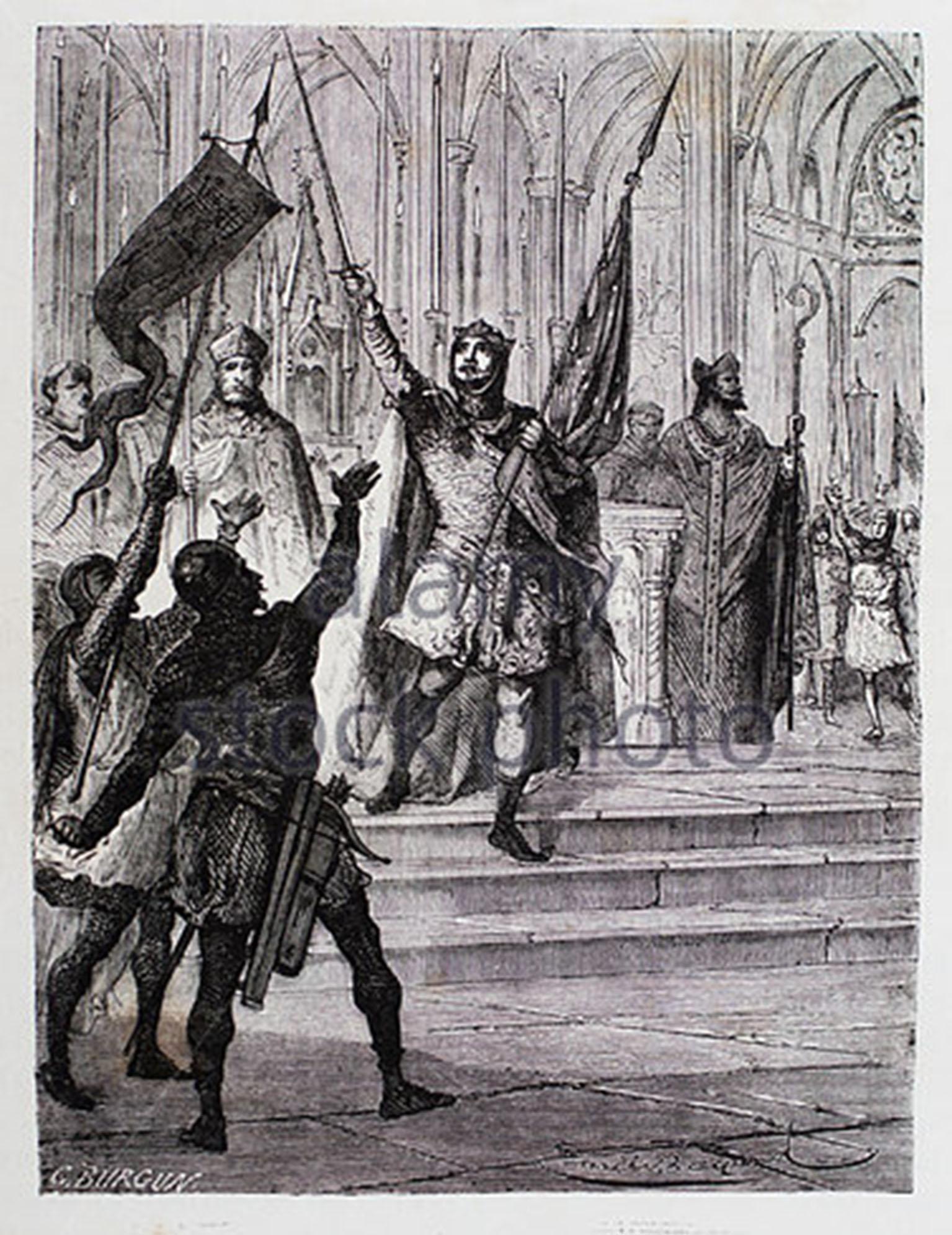 Louis le Gros prenant l'oriflamme sur l'autel de Saint-Denis.