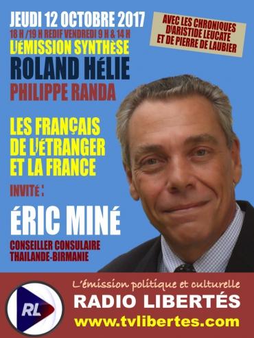 """Éric Miné invité de l'émission """"Synthèse"""" sur Radio Libertés le 12 octobre 2017."""