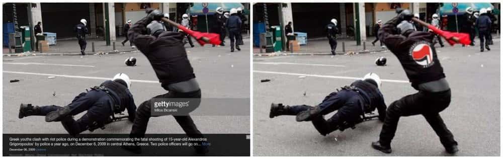 Antifa à l'action en Grece.