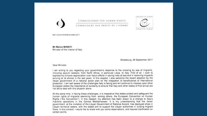 Lettre du Commissaire européen à Marco Minniti.