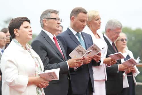 27 août 2017 : Marek Jurek , avec le Premier ministre, le président de la chambre des député et le président de la République, à l'occasion du 300e anniversaire du couronnement de l'icône de la Reine de Pologne, à Czestochowa.