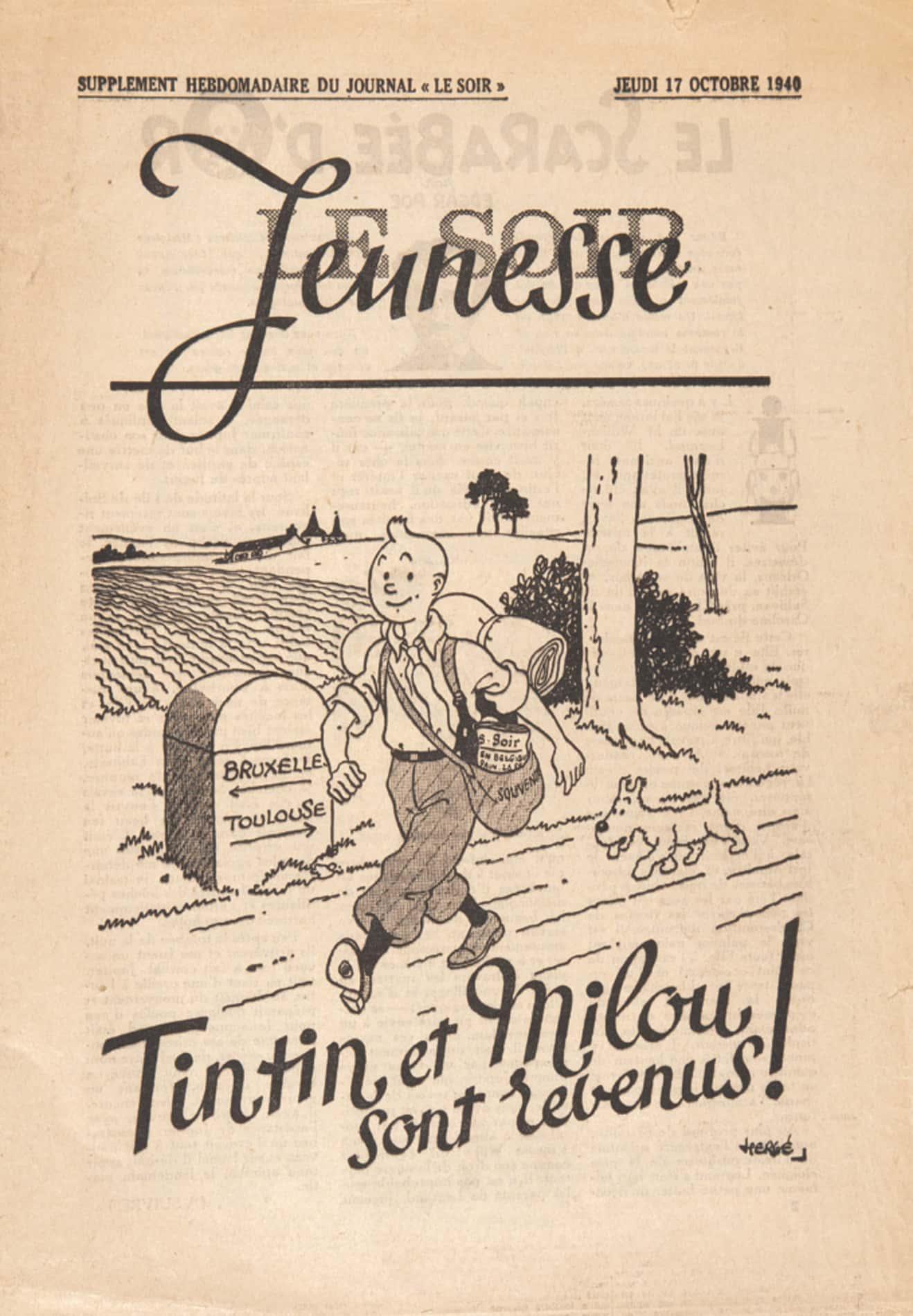 """Tintin paraît dans le quotidien """"Le Soir"""" sous contrôle allemand."""