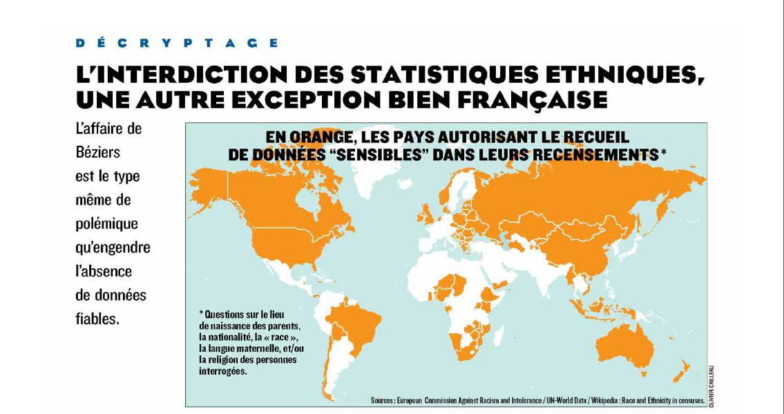 L'interdiction des statistiques ethniques une autre exception bien française (Le Figaro, 18 mai 2015).