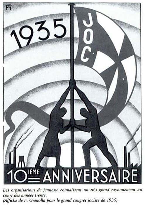 Affiche pour le congrès de la JOC en 1935.