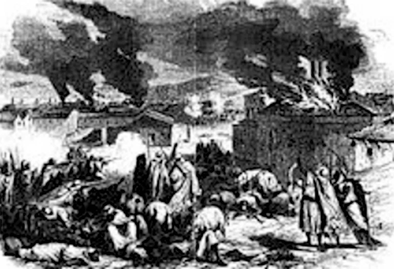 Attaque de Bordj Bou Arreridj par les hommes du cheikh El Mokrani —Gravure de Léon Morel-Fatio,L'Illustration, 1871.