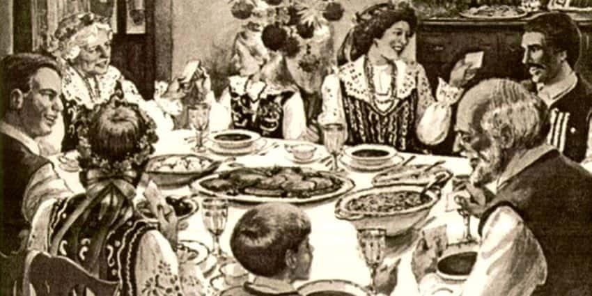 Polonais en costumes folkloriques (typiques de la région de Cracovie) pendant la nuit de Noël.