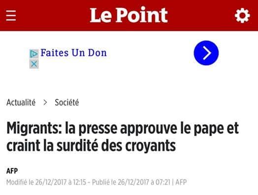 «Sans même discuter du fond, le rôle de « la presse » n'est ni d'approuver le message d'un Pape, ni de craindre la réaction de tel ou tel fidèle catholique à la parole de celui-ci. Je rêve.»