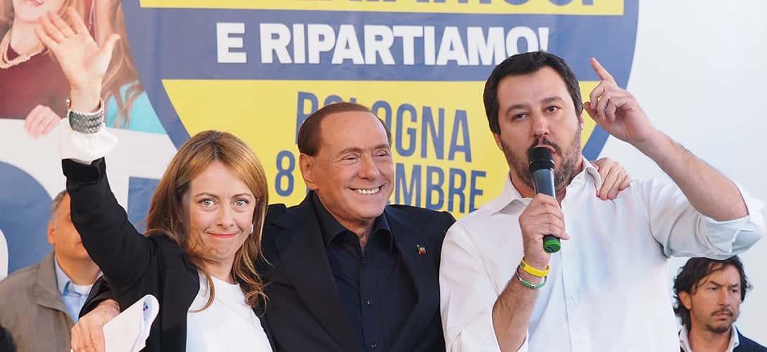Giorgia Meloni., Silvio Berlusconi et Matteo Salvini.