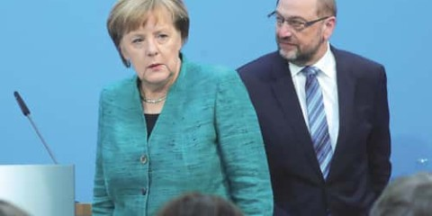 Angela Merkel et Martin Schulz.