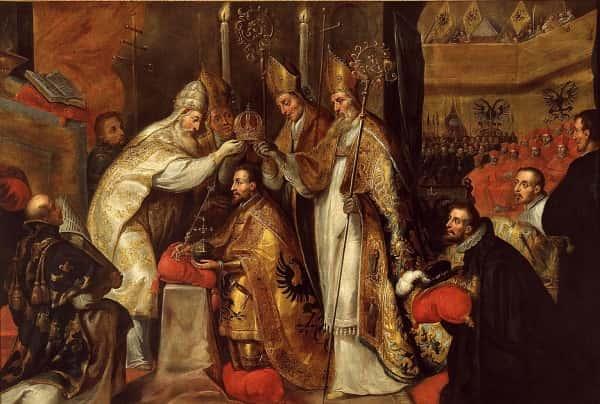 Le couronnement de Charles Quint par le pape Clément VII dans la cathédrale de Bologne.