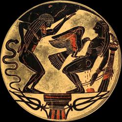 Prométhée enchaîné avec l'aigle ; à gauche son frère Atlas (Kylix laconien à figures noires du peintre Arcésilas de Cerveteri, vers 560/550 av.