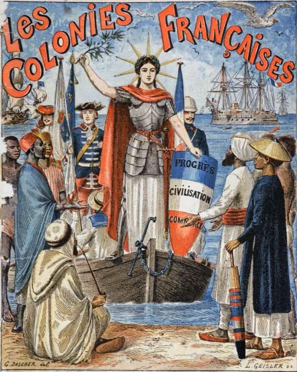 « Les colonies françaises » Illustration de la couverture d'un cahier scolaire par G. Dascher, vers 1900. © J.-L. Charmet.
