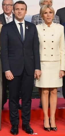 Brigitte et Emmanuel Macron et en 2017.