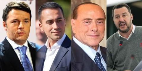De gauche à droite : Matteo Renzi (Parti démocrate), Luigi Di Maio (Mouvement 5 étoiles), Silvio Berlusconi (Forza Italia), Matteo Salvini (Ligue du Nord)...