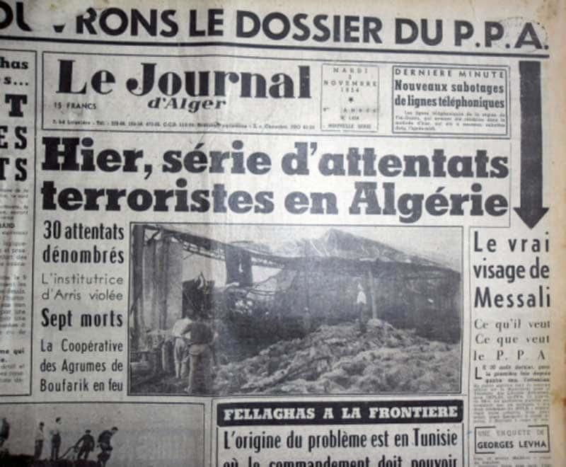 La Une du Journal d'Alger au lendemain de la Toussaint rouge.