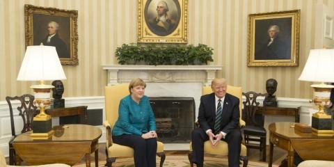 Angela Merkel et Donald Trump  à la Maison Blanche, en mars 2017.