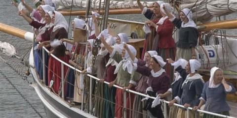 Une reconstitution de l'arrivée des Filles du Roy lors des Fêtes de la Nouvelle-France.