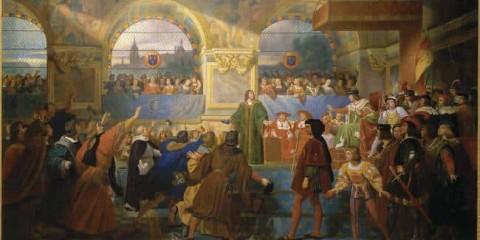 """Louis XII proclamé """"Père du Peuple"""" aux états généraux de Tours, 14 mai."""