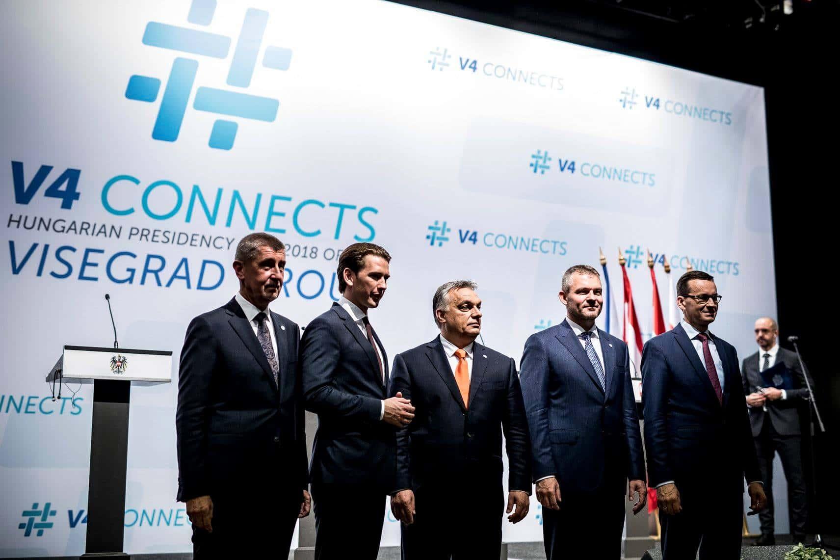 De gauche à droite : Andrej Babiš (CZ), Sebastian Kurz (AT), Viktor Orbán (HU), Peter Pellegrini (SK), Mateusz Morawiecki (PL). SOurce : page Facebook de Viktor Orbán.