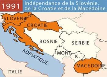 Indépendance en 1991 de la Yougoslavie.