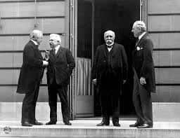 (Lloyd George, Vittorio Orlando, Georges Clemenceau, Woodrow Wilson).