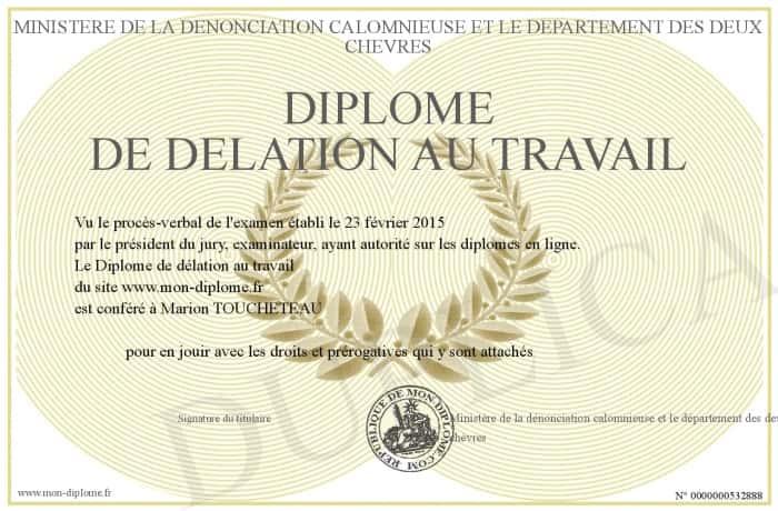 Diplome de delation au travail