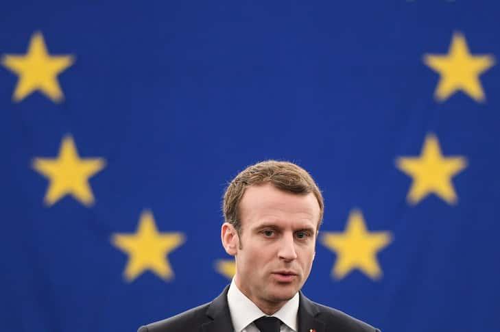 Emmanuel Macron au Parlement européen.