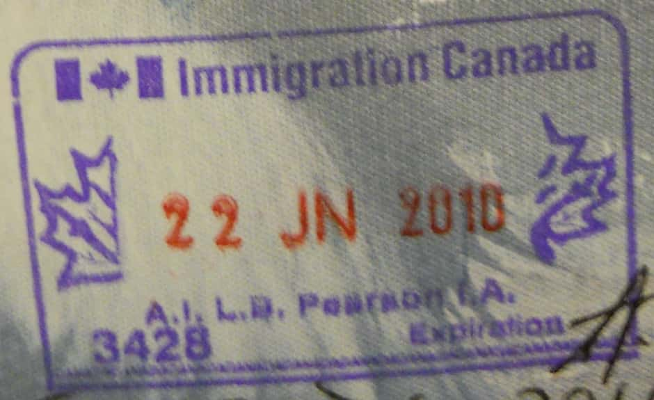Timbre d'immigration canadien.