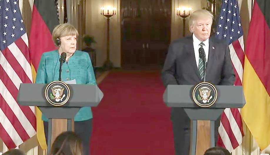 Angela Merkel et Donald Trump.
