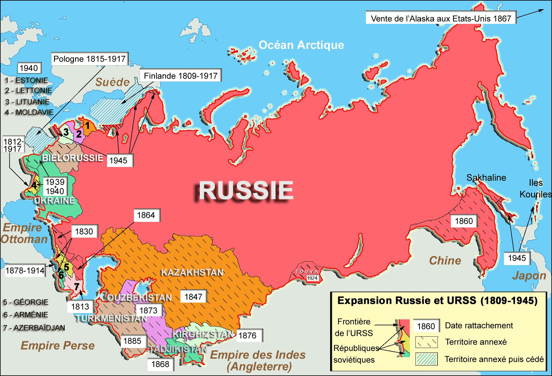 Carte de l'expansion de la Russie et de l'URSS de 1812 à 1945.