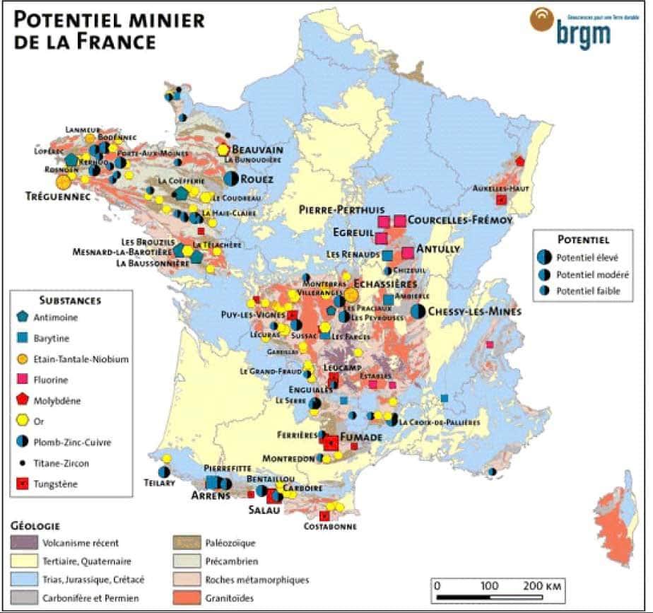 Potentiel minier France