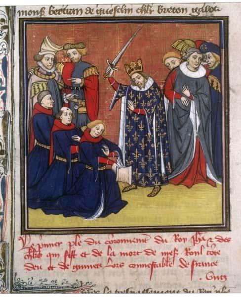 Jean II adoubant des chevaliers, Enluminure en Latin des XIVe / XVe siècle.