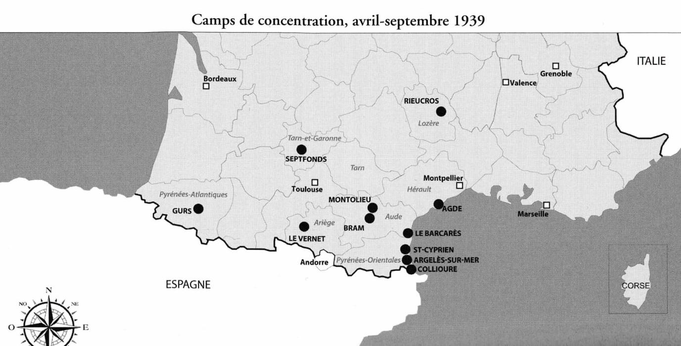 Localisation géographique des camps de concentration, avril-septembre 1939 (p. 126 de l'ouvrage).