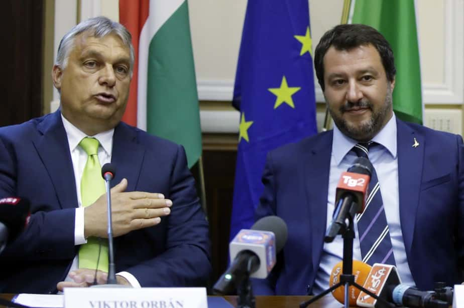 Le ministre de l'Intérieur Matteo Salvini et le Premier ministre hongrois, Viktor Orban.