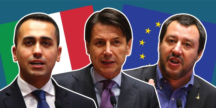 Luigi Di Maio, Giuseppe Conte, et Matteo Salvini.