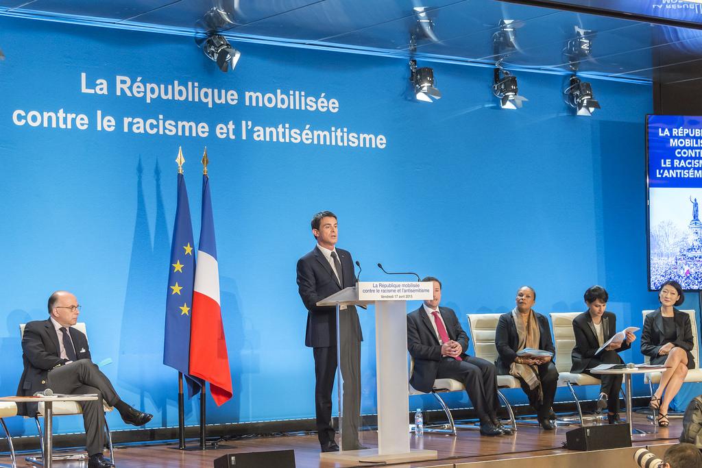 Présentation par manuel Valls du plan de lutte contre le racisme et l'antisémitisme à la préfecture de Créteil le 17 avril 2015.